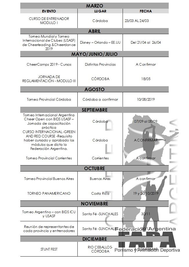 CRONOGRAMA ANUAL DE TORNEOS Y EVENTOS OFICIALES  2019